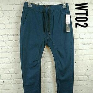 WT02 Navy Blue men's size small jogger pants NWT